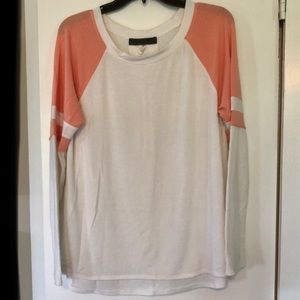 White & coral long sleeve top